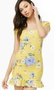 NWT forever 21 yellow floral short sleeved dress